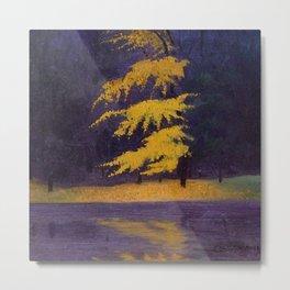 Bois de Boulogne, Paris, France Maidenhair Autumn landscape painting by Félix Vallotton Metal Print