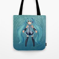 vocaloid Tote Bags featuring Digital Song by Nozubozu
