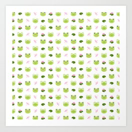 Frogs, Dragonflies and Lilypads on White Art Print
