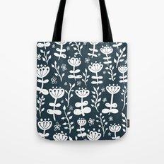 Navy Blooms Tote Bag
