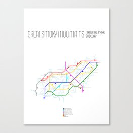 Great Smoky Mountains National Park Subway Map Canvas Print