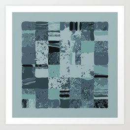 Modern Linear Ocean Sky Blue Squares Fusion Tailored Opulant Architectural Elegant Custom Art Print