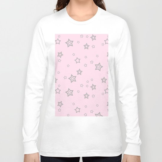 Grey little stars on pink background Long Sleeve T-shirt