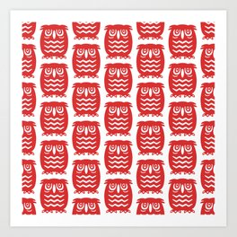 Mid Century Owl Pattern Red Art Print