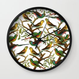 Colorful red green tropical birds parakeets pattern Wall Clock