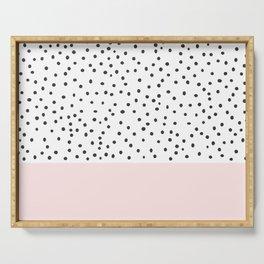 Pastel pink black watercolor polka dots pattern Serving Tray