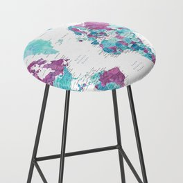 """Purple and turquoise watercolor world map with cities, """"Blair"""" Bar Stool"""