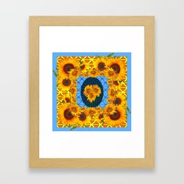 DECORATIVE  BABY BLUE ART & YELLOW SUNFLOWERS Framed Art Print