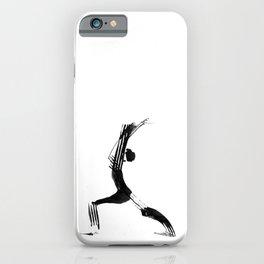 Moder black and white, minimalist ink figure yoga drawing, yoga illustration, yoga pose, yoga art iPhone Case
