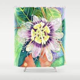 Passiflora edulis f. flavicarpa – Liliko'i, Water Color Shower Curtain