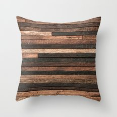 Vintage Wood Plank Throw Pillow