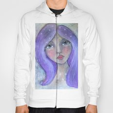 Purple Hair Whimiscal Girl Hoody