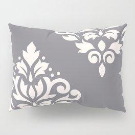Scroll Damask Art I Cream on Grey Pillow Sham