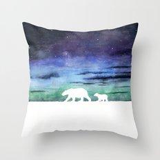 Aurora borealis and polar bears (white version) Throw Pillow