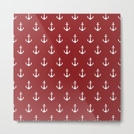 Maritime Nautical Red and White Anchor Pattern - Medium Size Anchors Metal Print