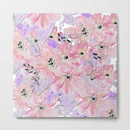 Modern pastel lilac pink watercolor flowers Metal Print