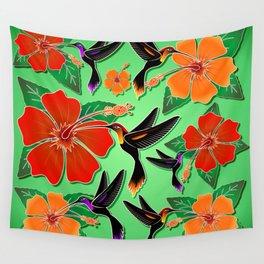 Hummingbird and Hibiscus Batik Pattern Wall Tapestry