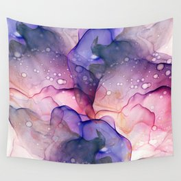 Dark Purple and Grey Flowing Abstract Painting Wall Tapestry