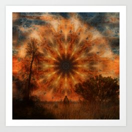 Surreal landscape in corrugated iron mandala Art Print