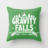 gravity falls Throw Pillows featuring Camp Gravity Falls  by MoviTees