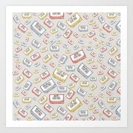 Primary Mixtapes on Neutral Grey Art Print