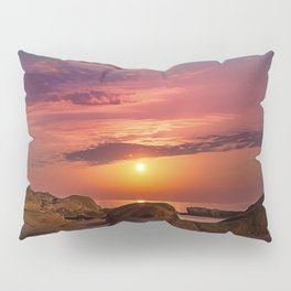 "Magical landscape with clouds and the moon going up in the sky in ""La Costa Brava, Spain"" Pillow Sham"
