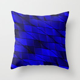 Mirrored gradient shards of curved blue intersecting ribbons and horizontal lines. Throw Pillow