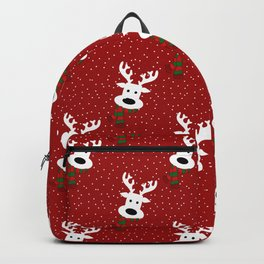 Reindeer in a snowy day (red) Backpack