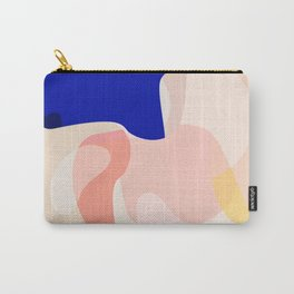 Modern Abstract Peach Pink Navy Blue Yellow Pattern Carry-All Pouch