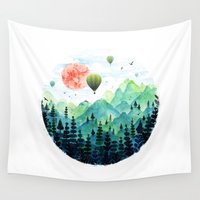 ballon Wall Tapestries featuring Roundscape by Fil Gouvea