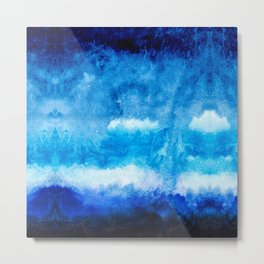 Modern abstract hand  painted blue turquoise ombre watercolor Metal Print