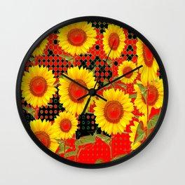 MODERN OPTICAL RED-BLACK ART SUNFLOWER FIELD Wall Clock