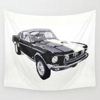 mustang Wall Tapestries featuring 1968 Foulger-Mustang 428 Cobra Jet Fastback by Lee Watson