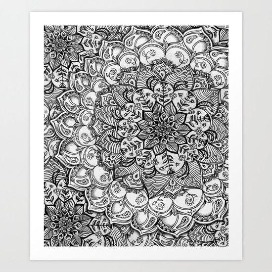 Shades of Grey - mono floral doodle Art Print