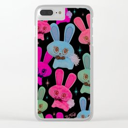 Cute Bunnies on Black Clear iPhone Case
