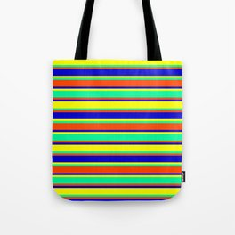 Red, Blue, Yellow & Green Stripes/Lines Pattern Tote Bag