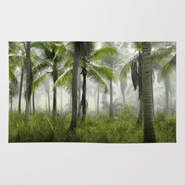 Foggy Palm Forest Rug