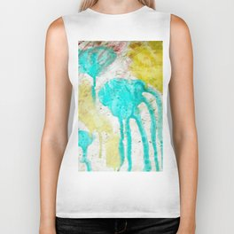 Artistic lime green teal hand painted watercolor Biker Tank