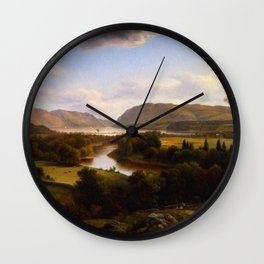 View Rom New Windsor Hudson River 1869 By David Johnson | Reproduction | Romanticism Landscape Paint Wall Clock