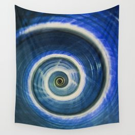 Blue and white spiral shell Wall Tapestry
