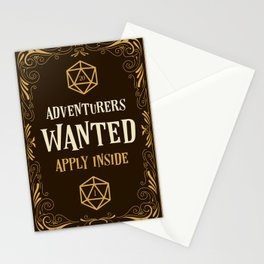 Adventurers Wanted Apply Inside D20 Dice Tabletop RPG Gaming Stationery Cards