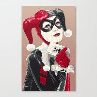 harley quinn Canvas Prints featuring Harley Quinn by Tavo Montañez