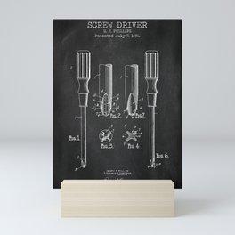 Screw Driver chalkboard patent Mini Art Print