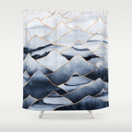 Mountains 2 - Gold Colored Lines Shower Curtain