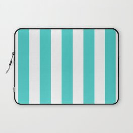 Medium turquoise - solid color - white vertical lines pattern Laptop Sleeve