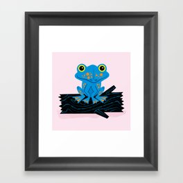 Frog On A Log Framed Art Print
