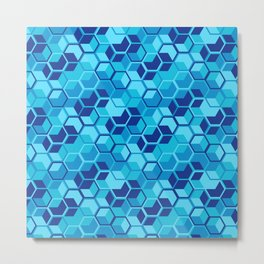 Blue Hexagon Geometric Pattern Metal Print