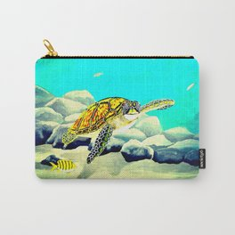 Colorful Sea Turtle Under The Blue Ocean Carry-All Pouch