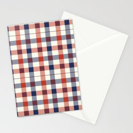 Plaid Red White And Blue Lumberjack Flannel Stationery Cards