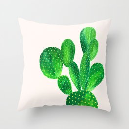 Bunny ears cactus Throw Pillow